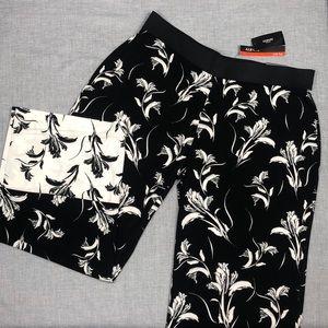 Alfani Black and Cream  Stretchy Wide Leg Pants
